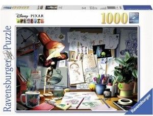 Puzzle Ravensburger 1000 - Artystyczne biurko, Disney Pixar The Artist''s Desk
