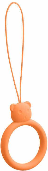 Silikonowa smycz do telefonu zawieszka miś niedźwiadek ring na palec pomarańczowy