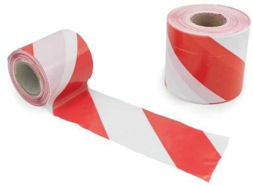 Taśma ostrzegawcza czerwono - biała 80mm/500m