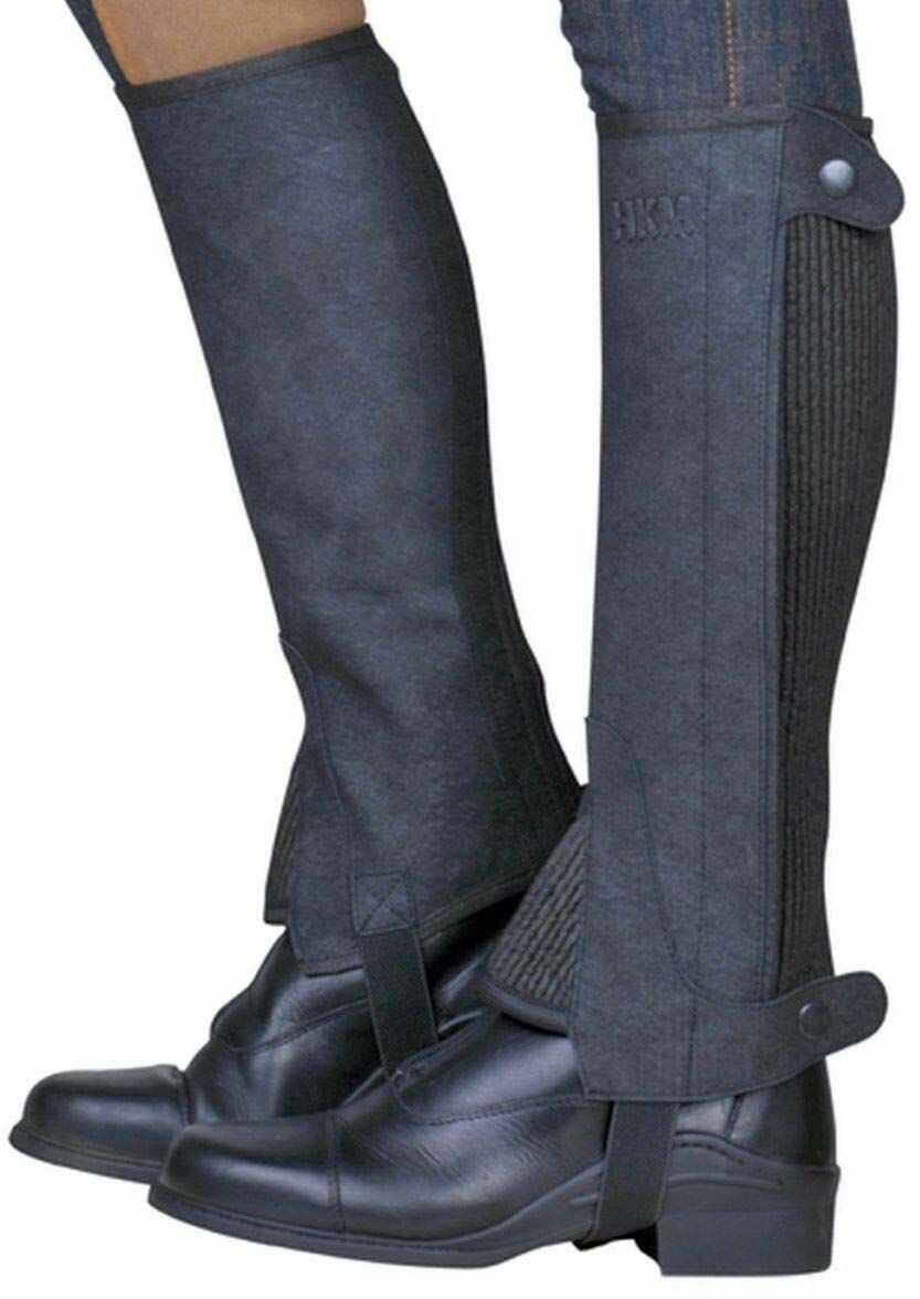 HKM Dorośli 6523 jeździeckie teczki Economic, czaps Minichaps Chaps dzieci 4-12 spodnie XS-XL, 9100 czarne, XL-39