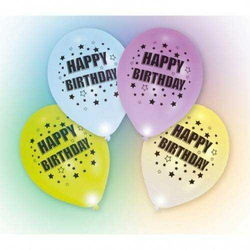 Balony lateksowe Happy Birthday świecące w różnych kolorach - 27,5 cm - 4 szt.