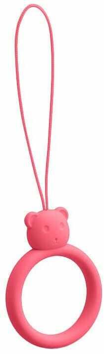 Silikonowa smycz do telefonu zawieszka miś niedźwiadek ring na palec różowy