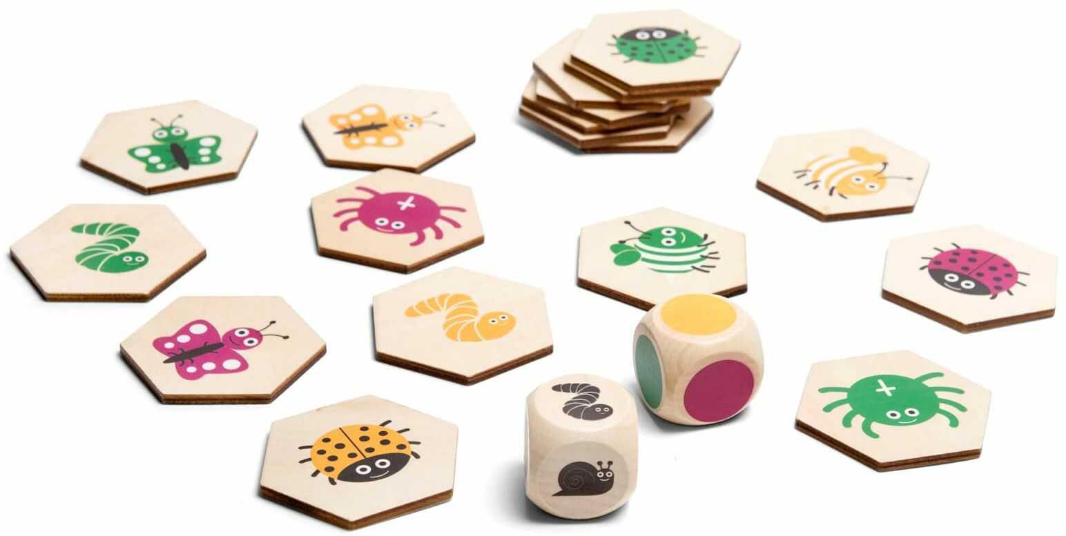 Drewniana gra 4 w 1 - znajdź robaczka
