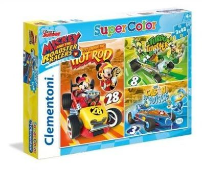 Puzzle Clementoni 3x48 Myszka Miki na wyścigach, Mickey and the Roadster Racers