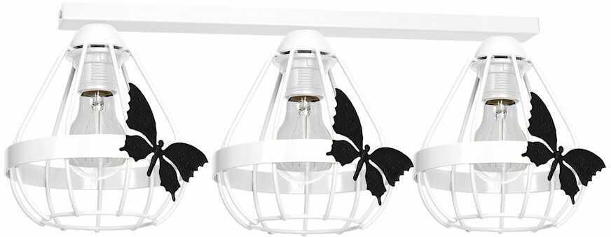 Milagro KAGO WHITE MLP4924 listwa oświetleniowa dziecięca biała klosze ze świecznikowymi uchwytami motyl 3xE27 70cm