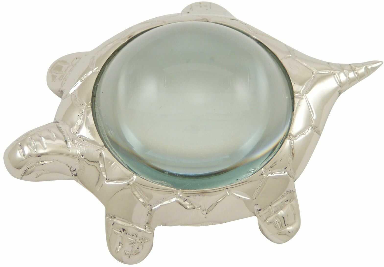 Générique 3104 lupa przycisk do papieru żółw szkło mosiądz niklowane 10 x 4 x 7,5 cm