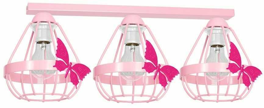 Milagro KAGO PINK MLP4929 listwa oświetleniowa dziecięca różowa klosze ze świecznikowymi uchwytami motyl 3xE27 70cm