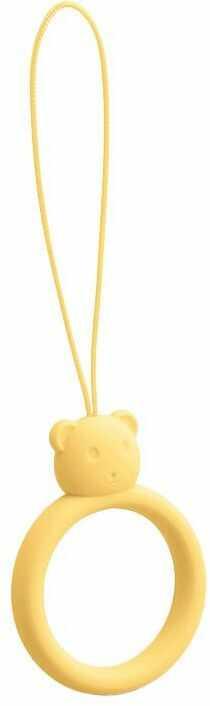 Silikonowa smycz do telefonu zawieszka miś niedźwiadek ring na palec żółty
