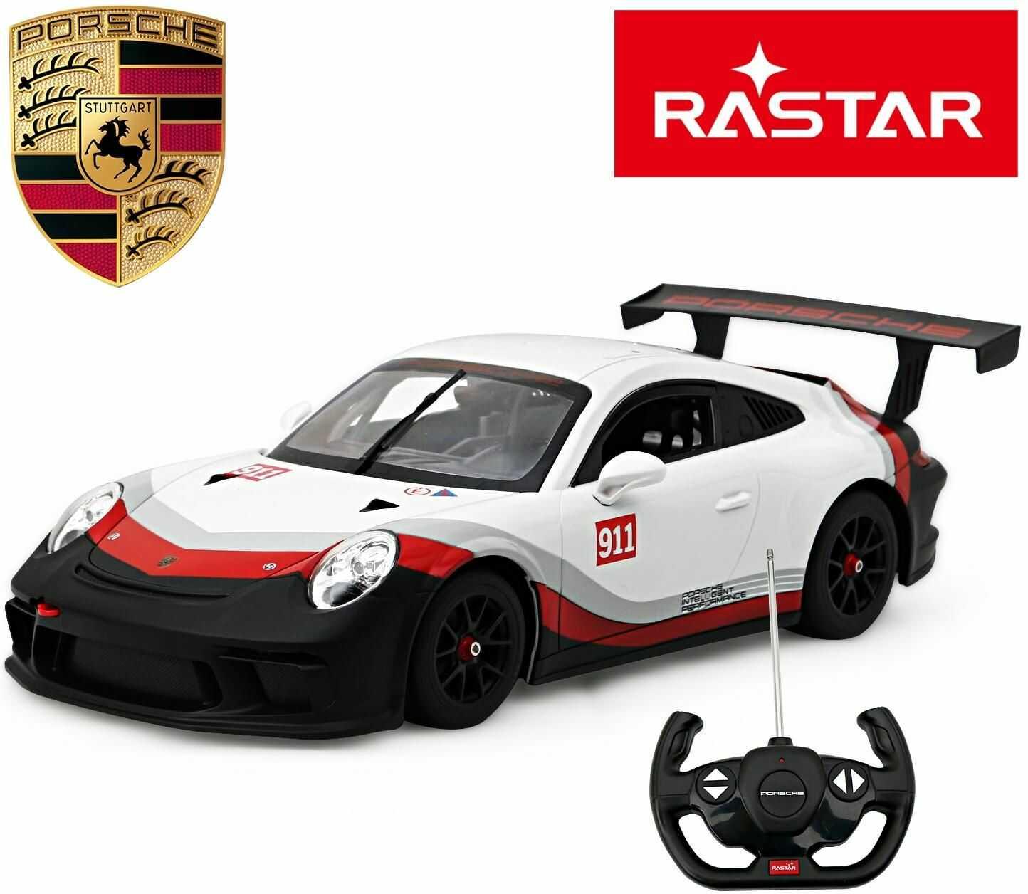 Duży Licencjonowany i Wysokiej Jakości Zdalnie Sterowany PORSCHE 911 GT3 CUP + Bezprzewodowy Pilot.