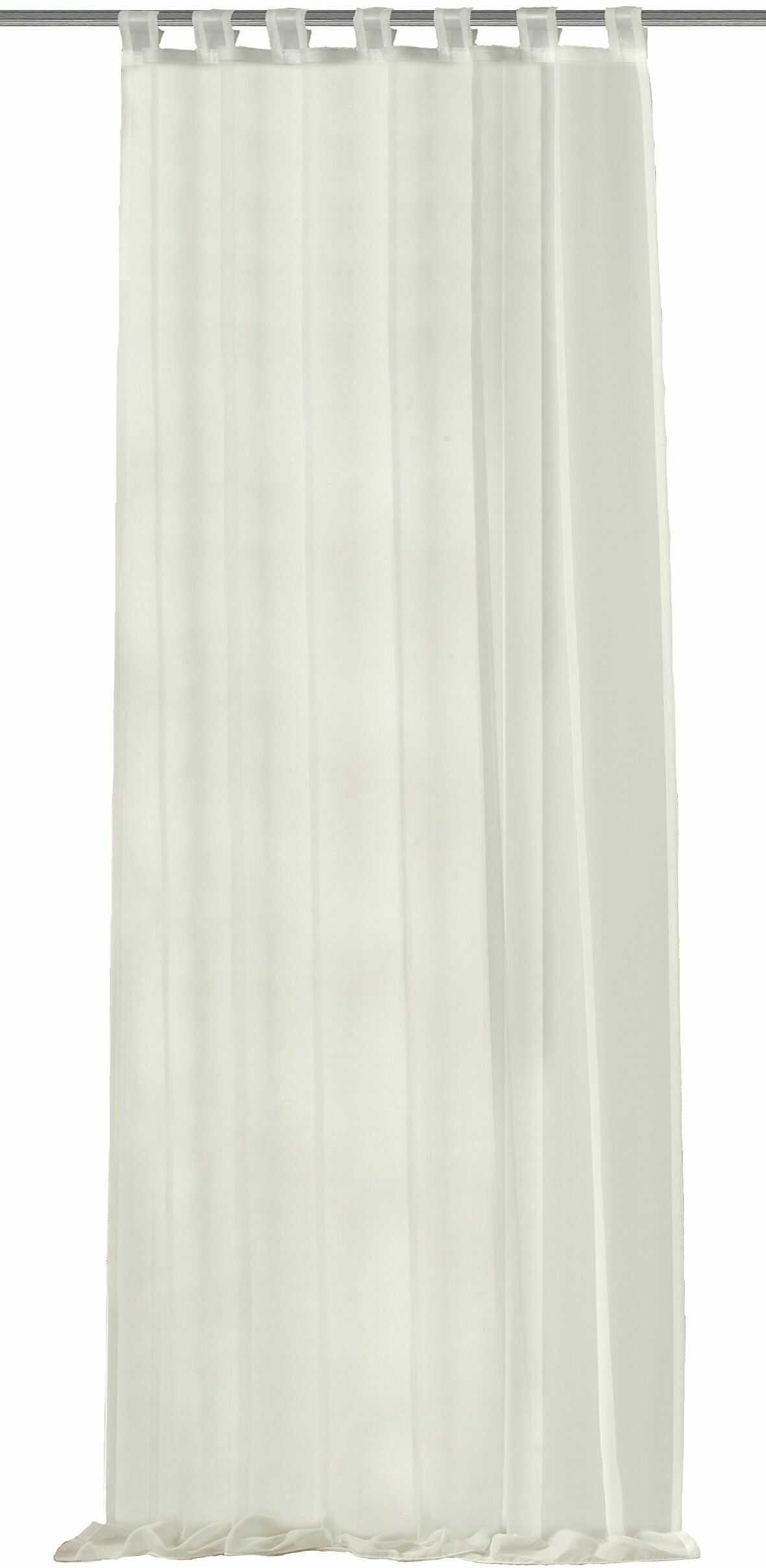Home fashion zasłona ze szlufkami Uni woal, poliester, wełniana biel, 245 x 140 cm