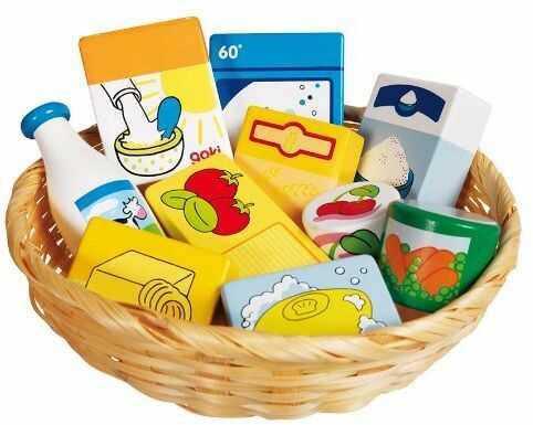 Goki 51713 sklepy zakupowe, miniatury, artykuły spożywcze i artykuły gospodarstwa domowego w koszyku