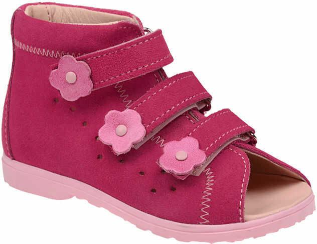 Sandałki Profilaktyczne Ortopedyczne Buty DAWID 1041 Różowe RC - Różowy Fuksja Multikolor