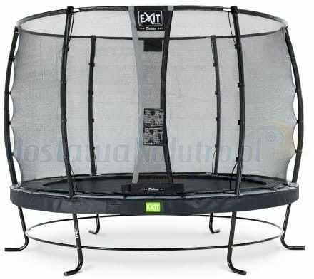 Trampolina Exit Elegant 305 cm kolor czarny z siatką bezpieczeństwa holenderska markowa