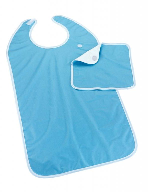Śliniak na rzep z serwetką PE/PU 90 x 45 cm niebieski