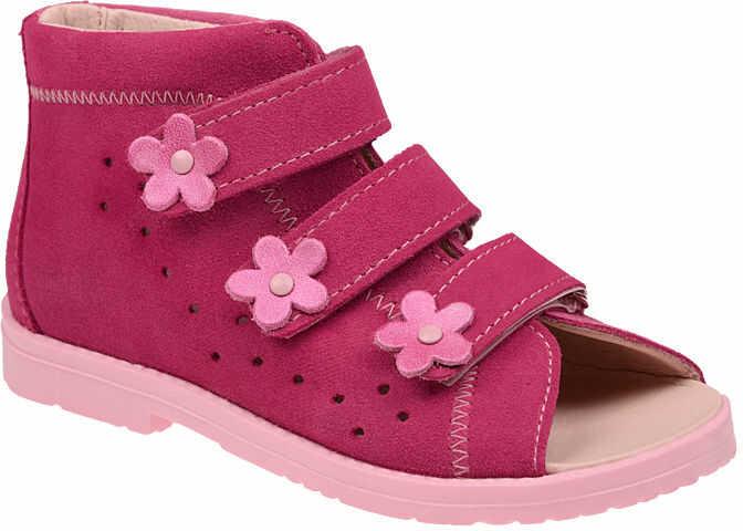 Sandałki Profilaktyczne Ortopedyczne Buty DAWID 1042 Różowe RC - Różowy Fuksja Multikolor