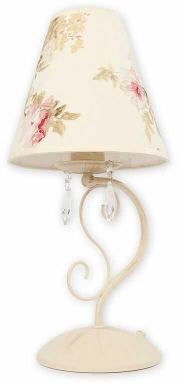Velio Abażur lampka stołowa 1 pł. / antyczna biel + kwiaty