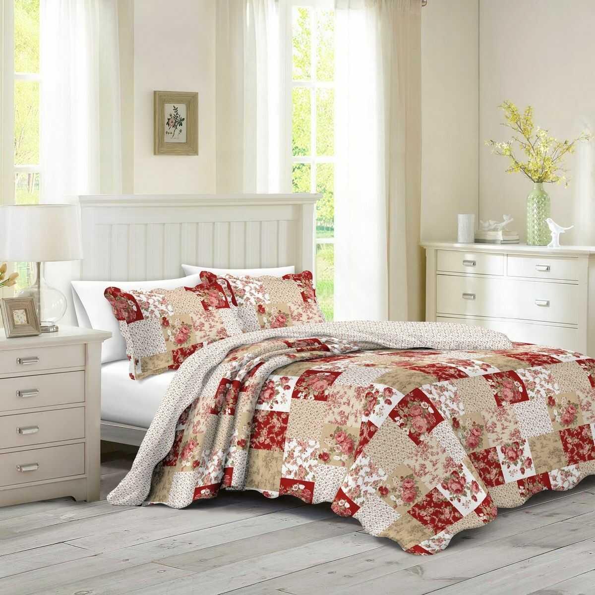Narzuta na łóżko Patchwork róża Heda, 230 x 250 cm, 2 szt. 50 x 70 cm