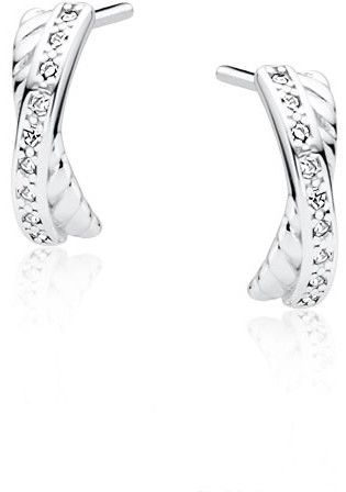 Eleganckie rodowane srebrne kolczyki celebrytki nieskończoność infinity z cyrkoniami srebro 925 Z1546E