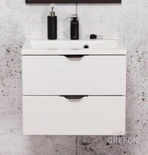 Szafka łazienkowa biała 50cm z białą umywalką dolomitową, 2 Szuflady, Styl Glamour, Gante VICTA
