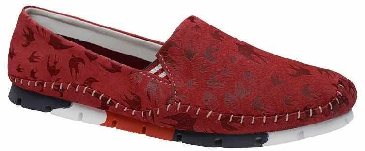 Półbuty Mokasyny LANQIER 44C1584 Czerwone wsuwane Baleriny - Czerwony