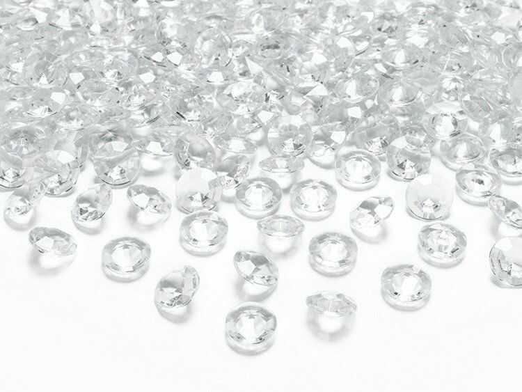 Diamentowe konfetti 12mm bezbarwne 100 sztuk ADC12-099