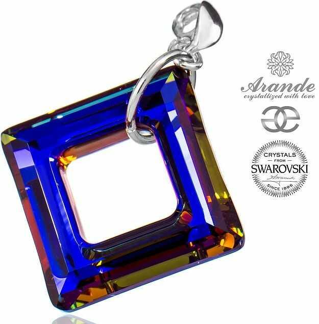 SWAROVSKI duży wisiorek kryształ 20mm VOLCANO łańcuszek SREBRO