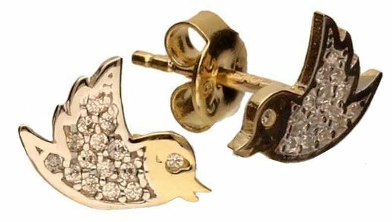 Złote kolczyki 585 sztyfty z cyrkoniami ptaki 1,25 g