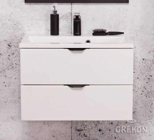 Szafka łazienkowa biała 60cm z białą umywalką dolomitową, 2 Szuflady, Styl Glamour, Gante VICTA