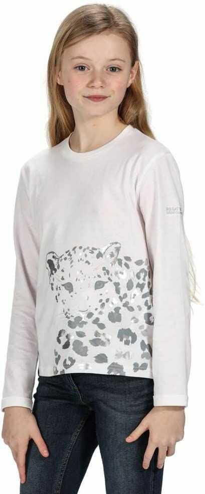 Regatta Unisex dzieci Wenbie bawełniany T-shirt z długim rękawem z nadrukiem graficznym T-shirty/polos/kamizelki biały 5-6