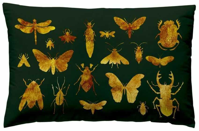 Poduszka welwet Insect zielono-złota 50 x 30 cm