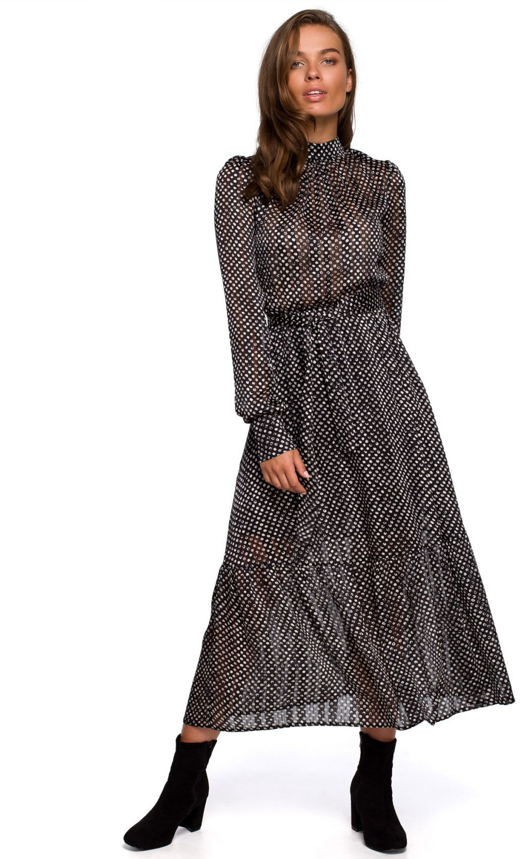 S238 Sukienka midi szyfonowa w groszki - model 1
