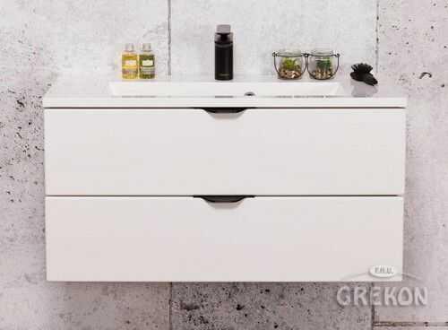 Szafka łazienkowa biała 80cm z białą umywalką dolomitową, 2 Szuflady, Styl Glamour, Gante VICTA