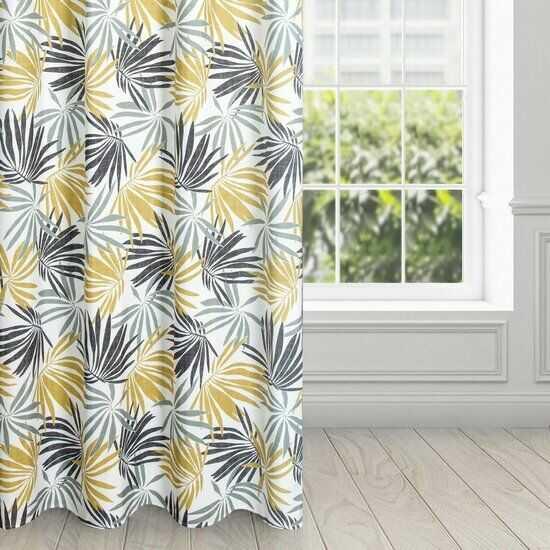 Zasłona ELINA z nadrukiem żółto-szarych liści na białym tle z