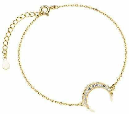 Elegancka pozłacana srebrna bransoleta celebrytka księżyc moon białe cyrkonie srebro 925 Z1602B_G