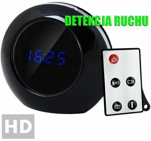 Szpiegowski Zegar Biurkowy z LCD, Nagrywający Obraz HD + Dźwięk (m.in. na ruch) + Ap. Foto...