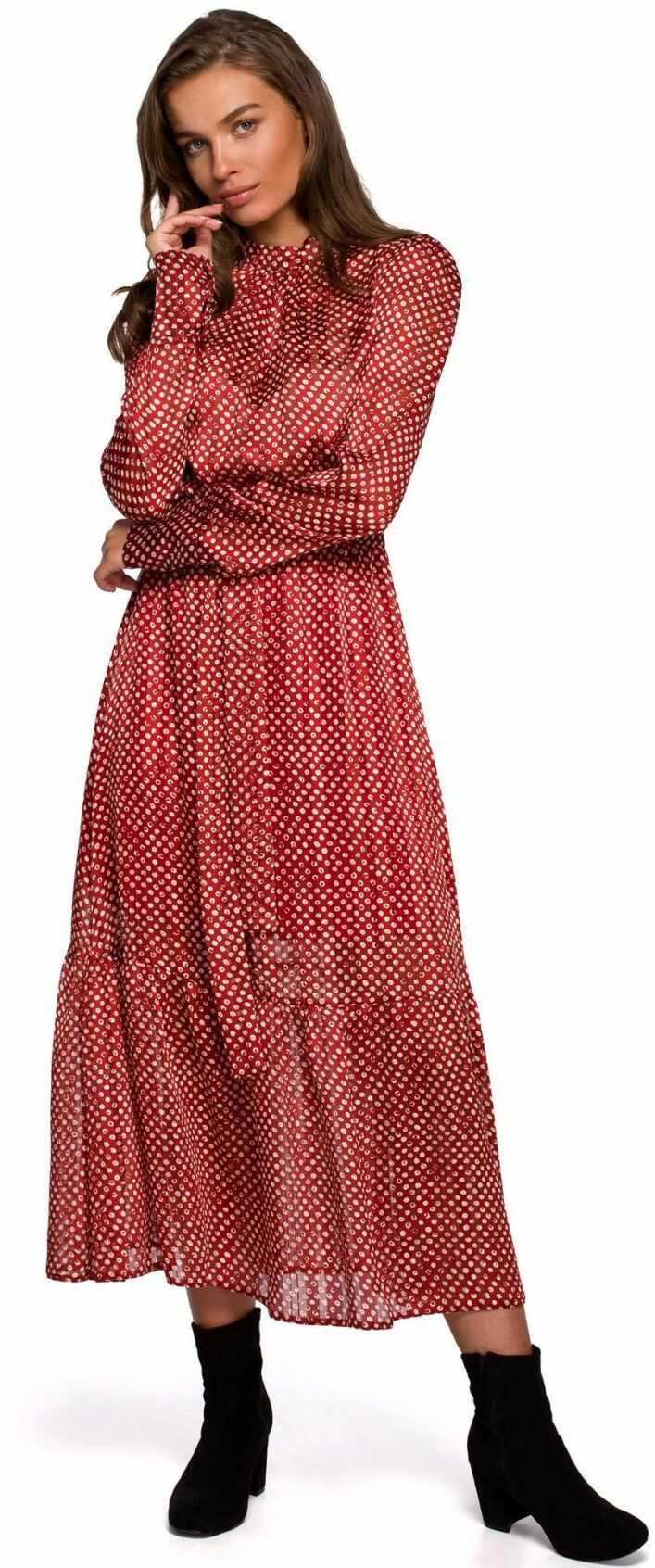 S238 Sukienka midi szyfonowa w groszki - model 2