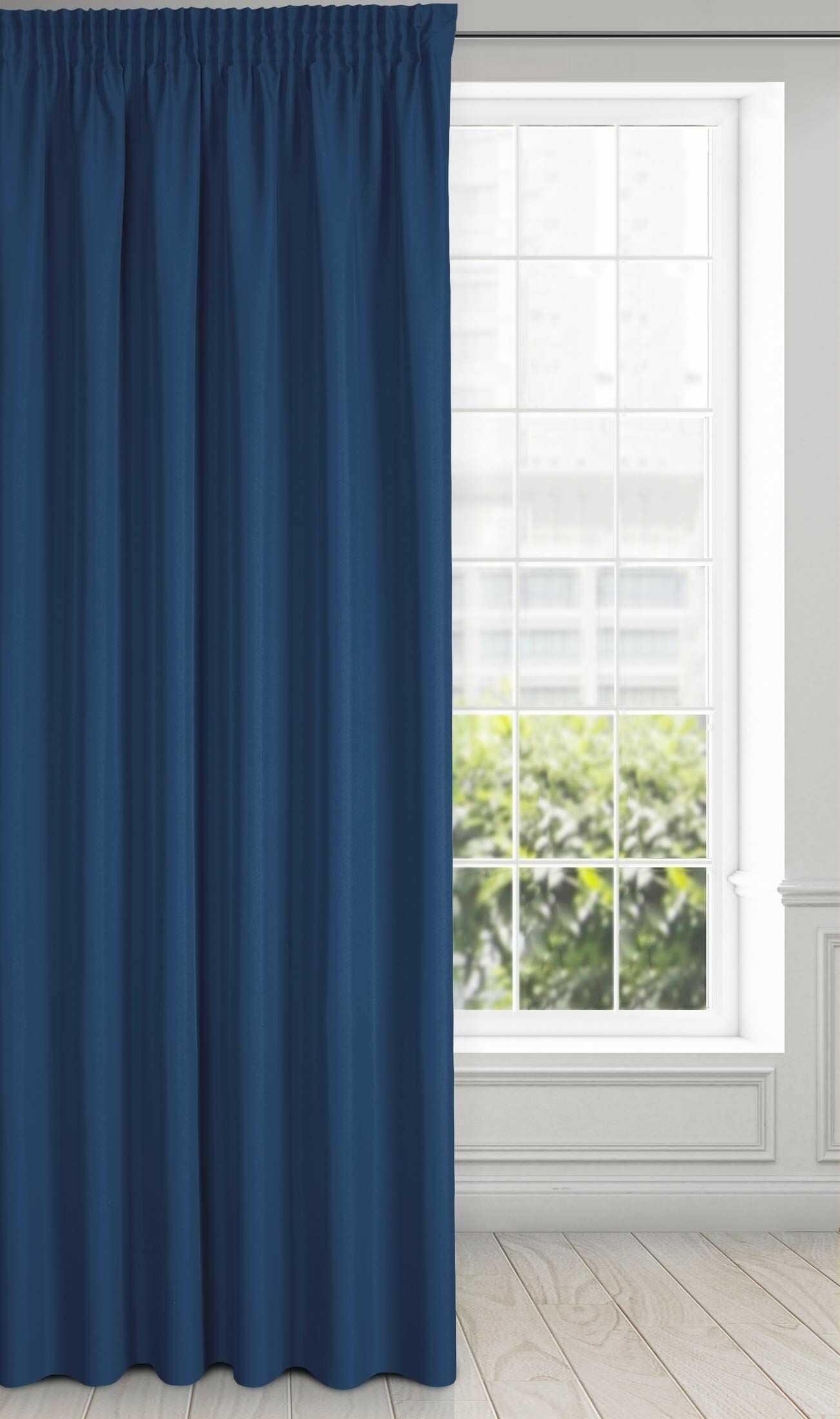Eurofirany Rita zasłona gładka, prosta jednokolorowa  taśma marszczona nowoczesna sypialnia salon pokój dziecięcy 1 sztuka pojedyncza poliester, ciemnoniebieski, 140 x 270 cm