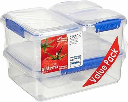 Sistema KLIP IT Wieloczęściowe pojemniki do przechowywania żywności Pudełka na lunch z pokrywkami zapinanymi na klips Nie zawierają BPA Niebieskie klipsy Różne rozmiary 6 sztuk