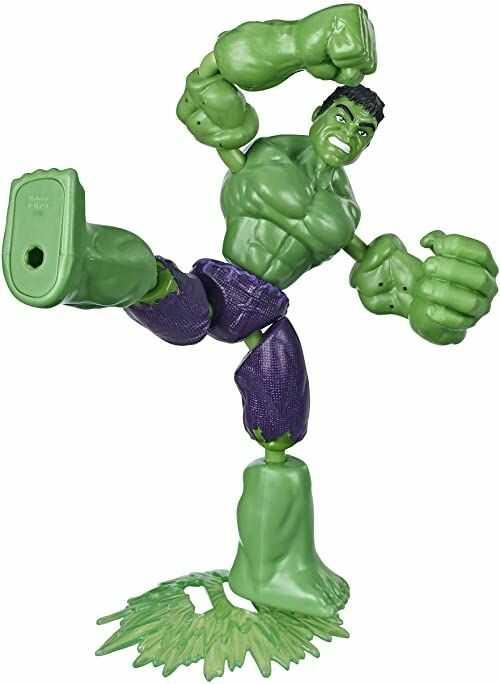 Zabawkowa zginana i odkształcana figurka Hulka z kolekcji Marvel Avengers, 15-centymetrowa giętka zabawka z akcesorium do strzelania, dla dzieci w wieku od 4 lat