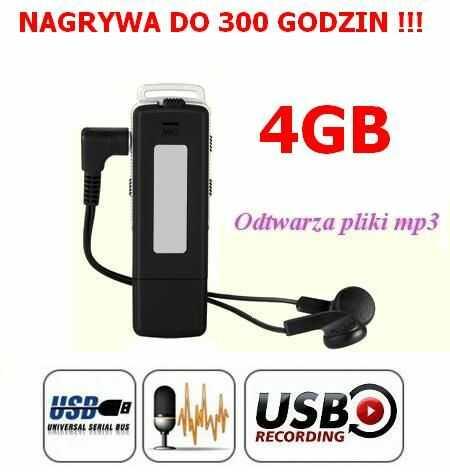 Mobilny Mikro-Dyktafon/Podsłuch Narywający Dźwięk, Ukryty w Pendrive 4GB/300h + Słuchawki + MP3...