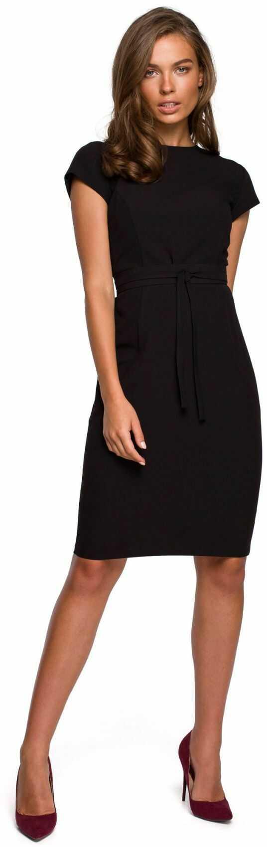 S239 Sukienka ołówkowa z przeszyciami - czarna