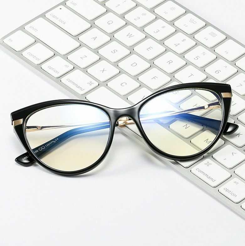 Okulary kocie do komputera damskie z filtrem BLUE Light zerówki 2567