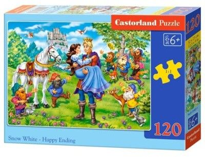 Puzzle Castor 120 - Królewna Śnieżka - szczęśliwy koniec, Snow White - Happy Ending