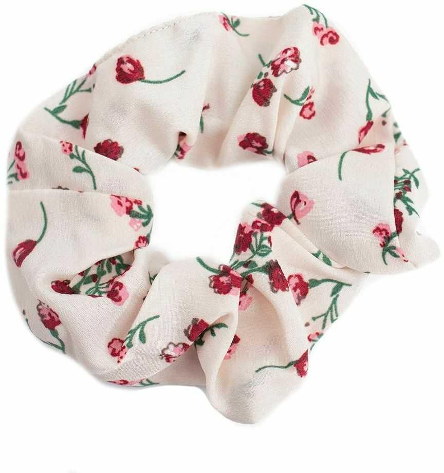 Gumka do włosów kremowa scrunchies kwiaty frotka