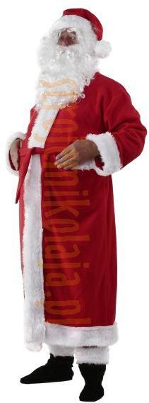 Strój płaszcz Mikołaja z polaru - komplet 5 elementów