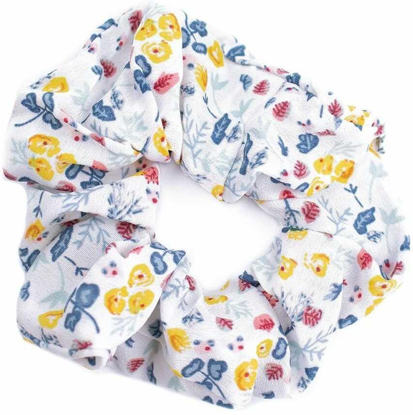 Gumka do włosów biała scrunchies kwiaty frotka