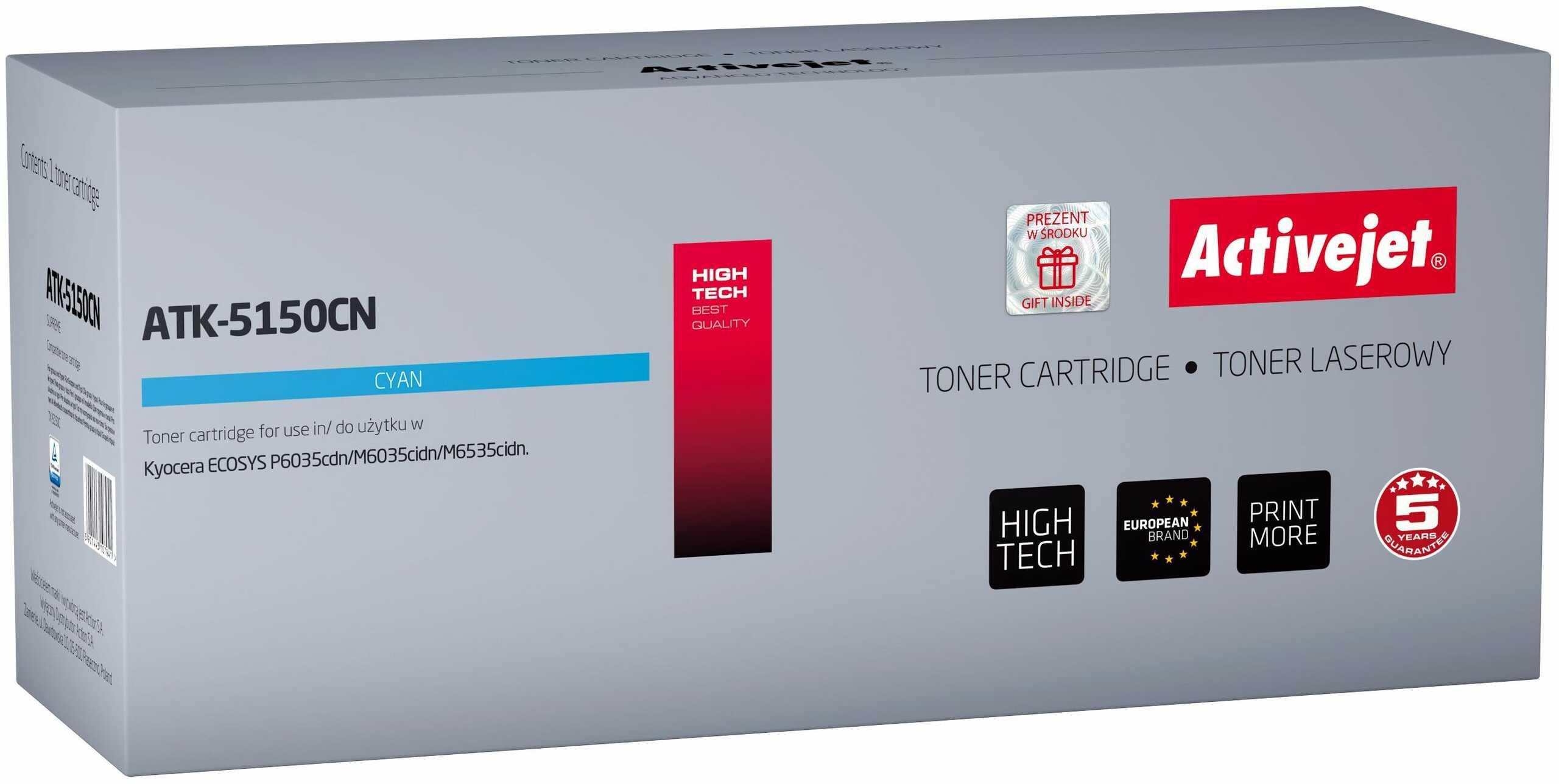 Toner Activejet ATK-5150CN (zamiennik Kyocera TK-5150C; Supreme; 10 000 stron; niebieski)
