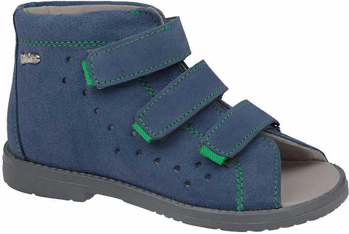 Sandałki Profilaktyczne Ortopedyczne Buty DAWID 1042 Niebieski GJ - Niebieski Szary Multikolor