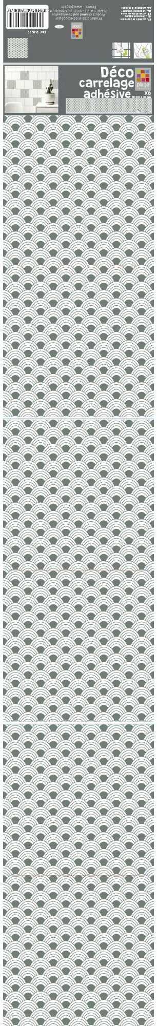 PLAGE 6 płytek stroik - Ozieri, szary, 15 x 15 cm