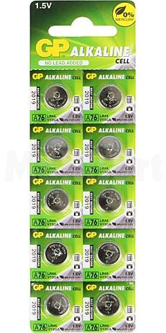 Bateria alkaliczna GP A76-U10 1,5V LR44, R1154, SR44 Il.bat:10